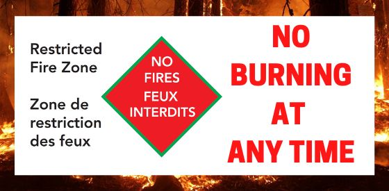 Restricted Fire Zone - NO FIRES - NO Burning at any time